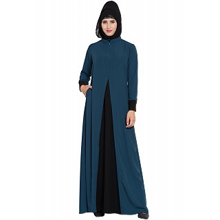Dual colored designer abaya- Teal-Black