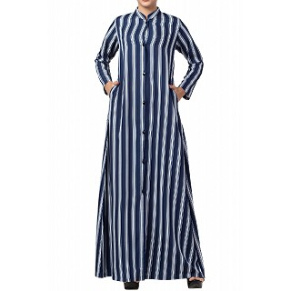 Striped front open abaya- Blue-White