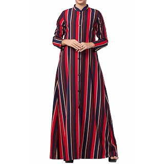 Striped front open abaya- multi colored