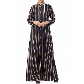 Long Striped front open abaya- multi colored