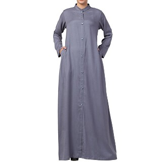 Casual front open abaya- Grey