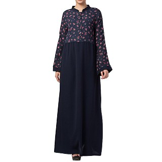 Floral Printed abaya dress- Blue