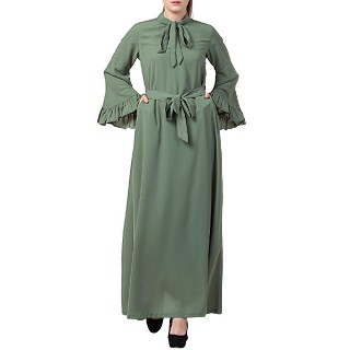 Designer abaya dress with frilled bell sleeves- Jade Green
