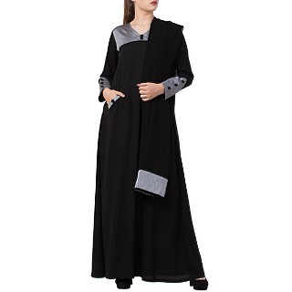Designer abaya with a matching Hijab- Black