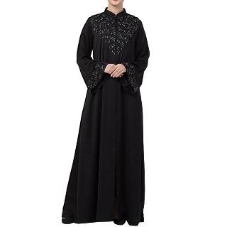 Premium Front open Nida abaya with handwork- Black