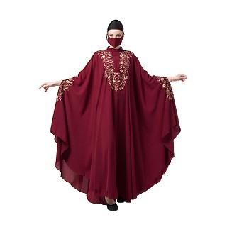 Embroidered designer kaftan abaya- Maroon