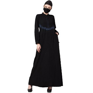 Casual abaya with Chikan Embroidery work- Black