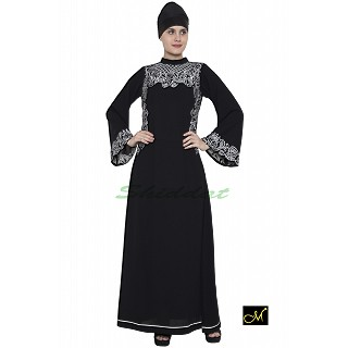 Embroidery designer abaya- Black