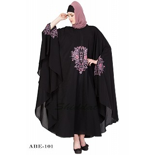 Irani kaftan with embroidery - Black