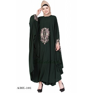 Irani kaftan with embroidery - Dark Green