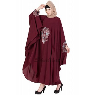 Irani kaftan with embroidery - Maroon