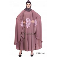 Irani kaftan with embroidery - Puce Pink