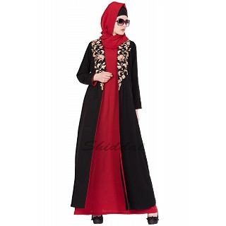 Double layered embroidery abaya- Black-Red