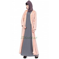 Double layered abaya with embroidery- Pink-Grey