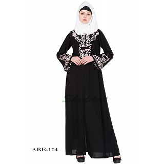 Front open embroidery abaya- Black