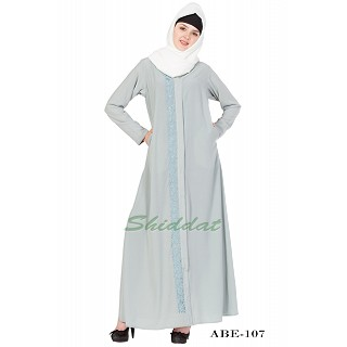 Front-open embroidery abaya - Sea Green