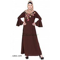 Embroidery abaya with bell sleeves- Brown
