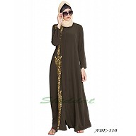 Front open embroidered abaya- Olive Green