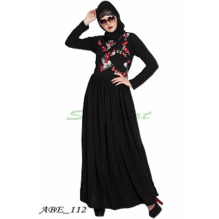 Embroidered abaya with pleated waistline