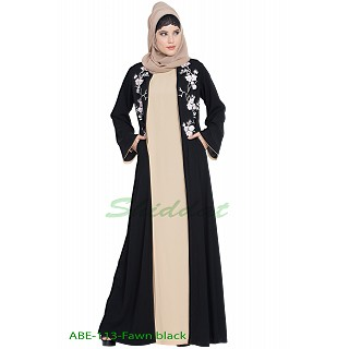 Abaya set with Embroidered cardigan- Black-Fawn