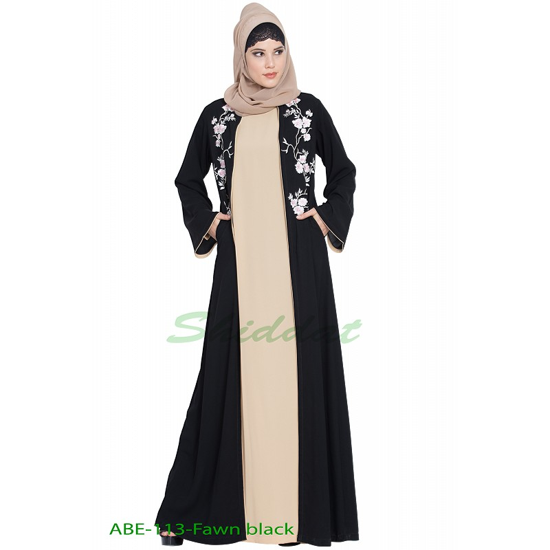 c848ff15d193b Abaya set with Embroidered cardigan- Black-Fawn