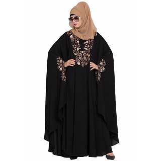 Embroidered designer kaftan abaya- Black