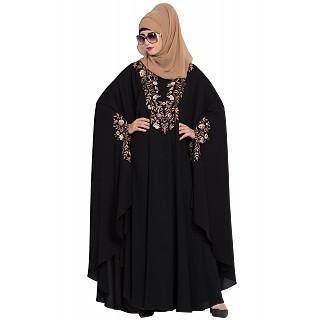 Embroidered designer kaftan abaya- Black