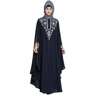Premium embroidered Irani Kaftan- Navy Blue