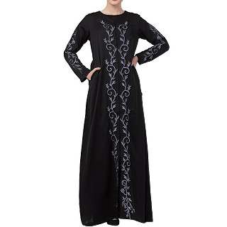 Front open Nida abaya with embroidery work- Black