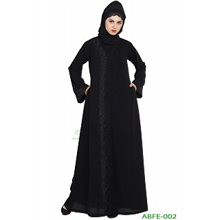 Front-open abaya with embroidery work- Black