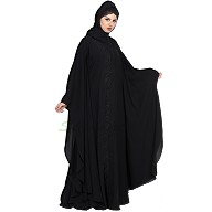 Front-open embroidered Kaftan abaya- Black