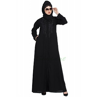 Embroidered front-open abaya- Black