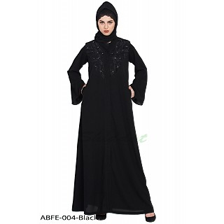 Front open abaya with embroidery work- Black