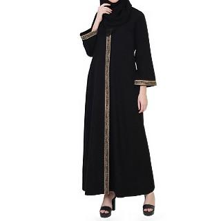 Front open abaya in Arabian fit- Black-Beige