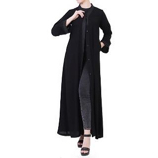 Front open abaya in Arabian fit- Black-Black