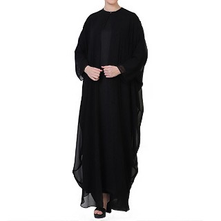 Georgette Cape with Nida abaya- Black