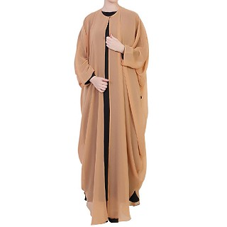 Georgette Cape with Nida abaya- Black-Sand