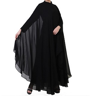 Georgette kaftan with an Inner abaya- Black