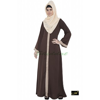Front open Abaya- Brown