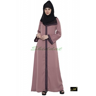 Front open Abaya- Puce Pink