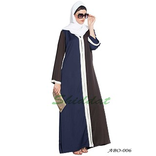Front open abaya- Brown-Blue