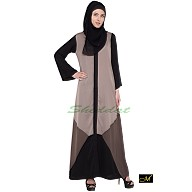 Front open Abaya- Grey | Black & Brown Combination