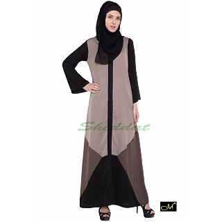 Front open Abaya- Grey | Black-Brown Combination