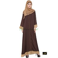Front open Dress Abaya- Brown