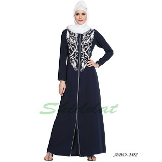 Front open abaya with embroidery- Blue-White