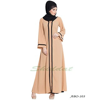 Simple Front open abaya- Sand color