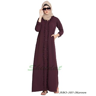 Front open abaya with frills on panels and sleeves- Maroon