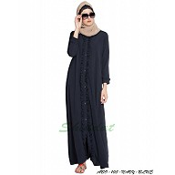 Front open abaya with frills on panels and sleeves- Navy Blue