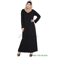 Front open abaya with frills on panels and sleeves- Black