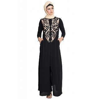 Front open abaya with golden color embroidery- Black